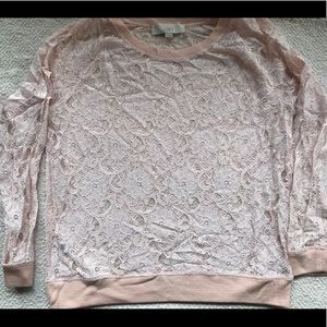Long sleeve, pale pink, lace long sleeve